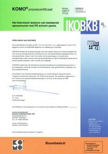 IKOB-BKB CERTIFICAAT SPOUWMUURISOLATIE PS PARELS ISOHEAT ISOLATIETECHNIEK